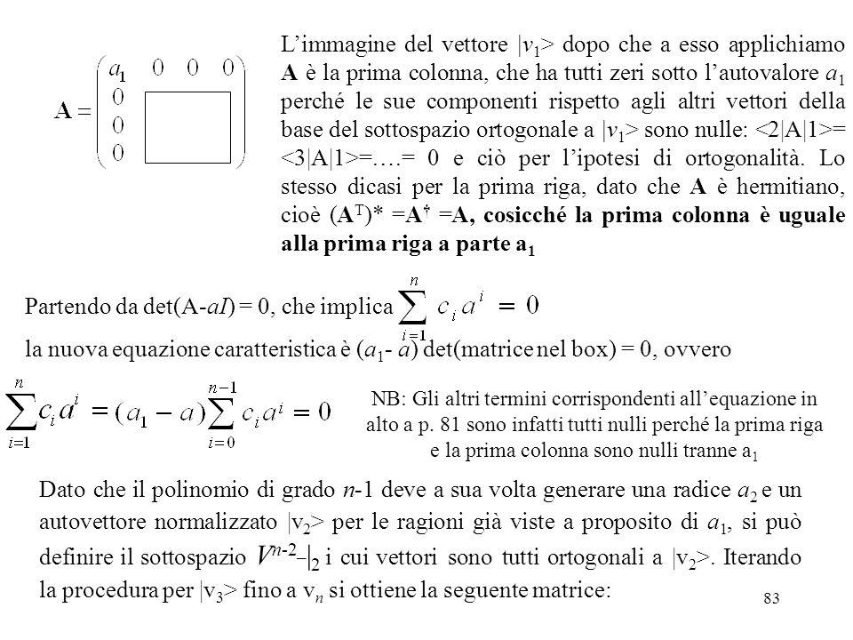 Partendo da det(A-aI) = 0, che implica