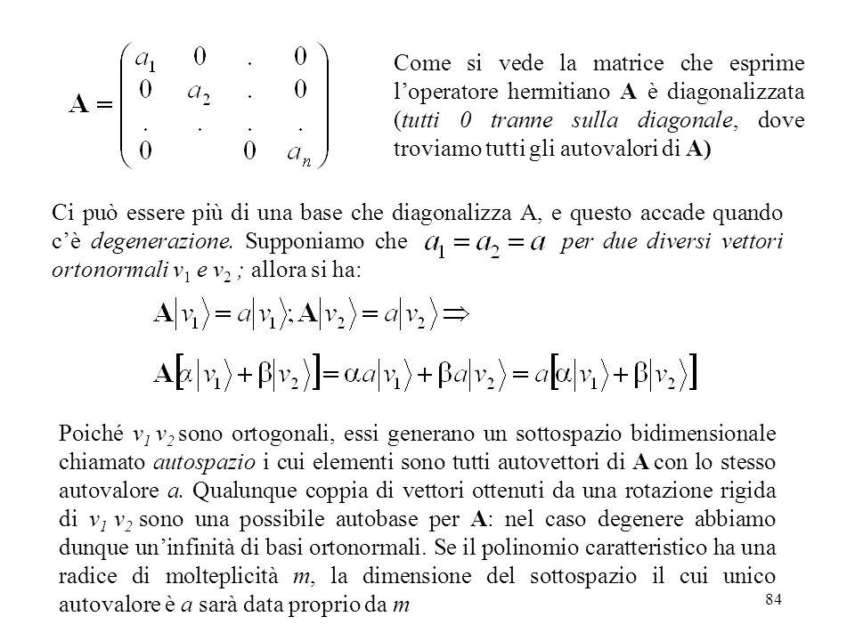 Come si vede la matrice che esprime l'operatore hermitiano A è diagonalizzata (tutti 0 tranne sulla diagonale, dove troviamo tutti gli autovalori di A)