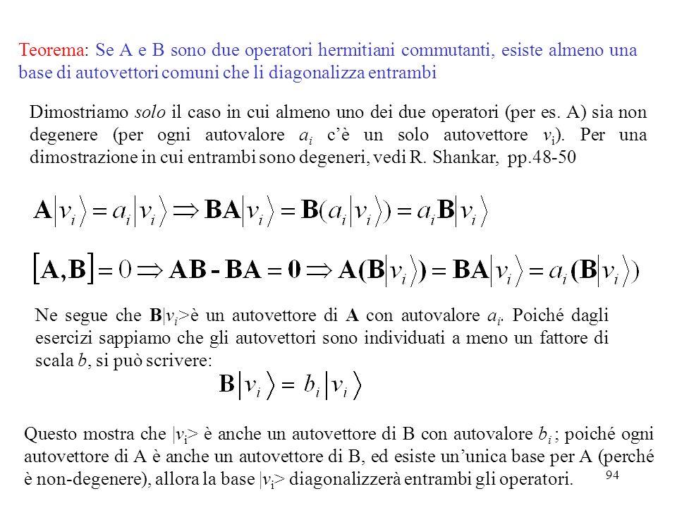 Teorema: Se A e B sono due operatori hermitiani commutanti, esiste almeno una base di autovettori comuni che li diagonalizza entrambi