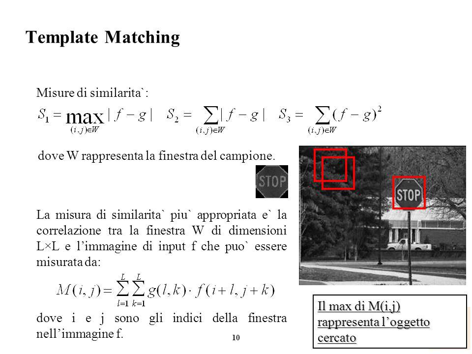 Template Matching Misure di similarita`: