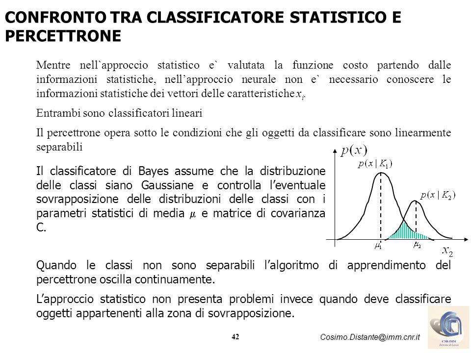 CONFRONTO TRA CLASSIFICATORE STATISTICO E PERCETTRONE
