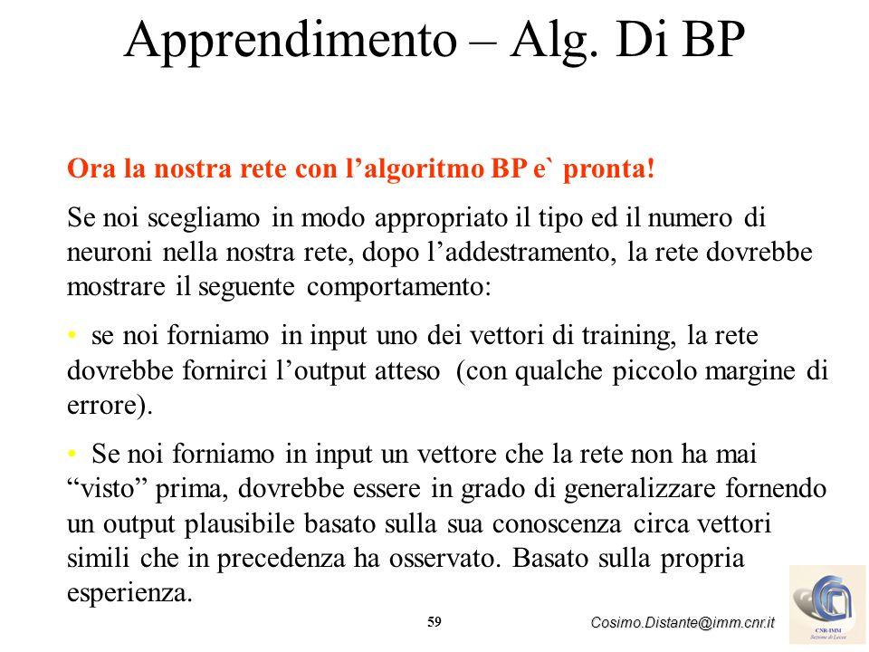 Apprendimento – Alg. Di BP