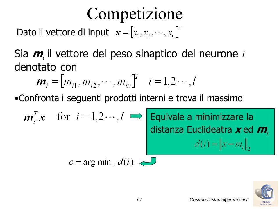 Competizione Dato il vettore di input. Sia mi il vettore del peso sinaptico del neurone i denotato con.