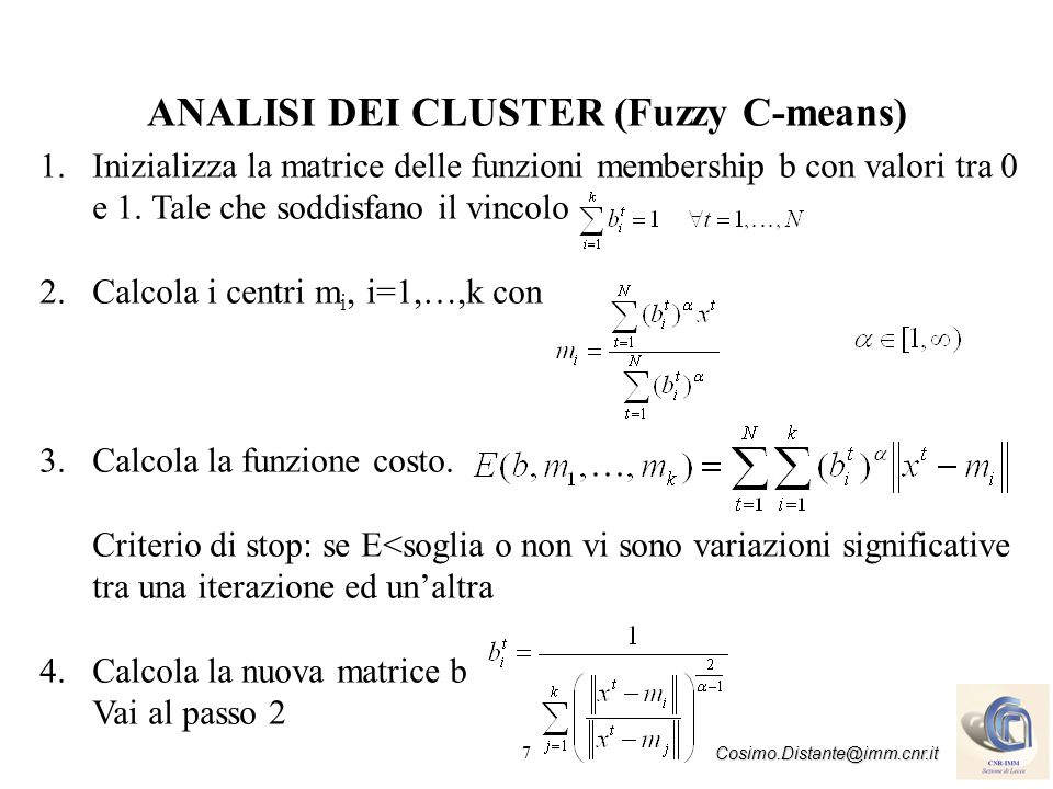 ANALISI DEI CLUSTER (Fuzzy C-means)