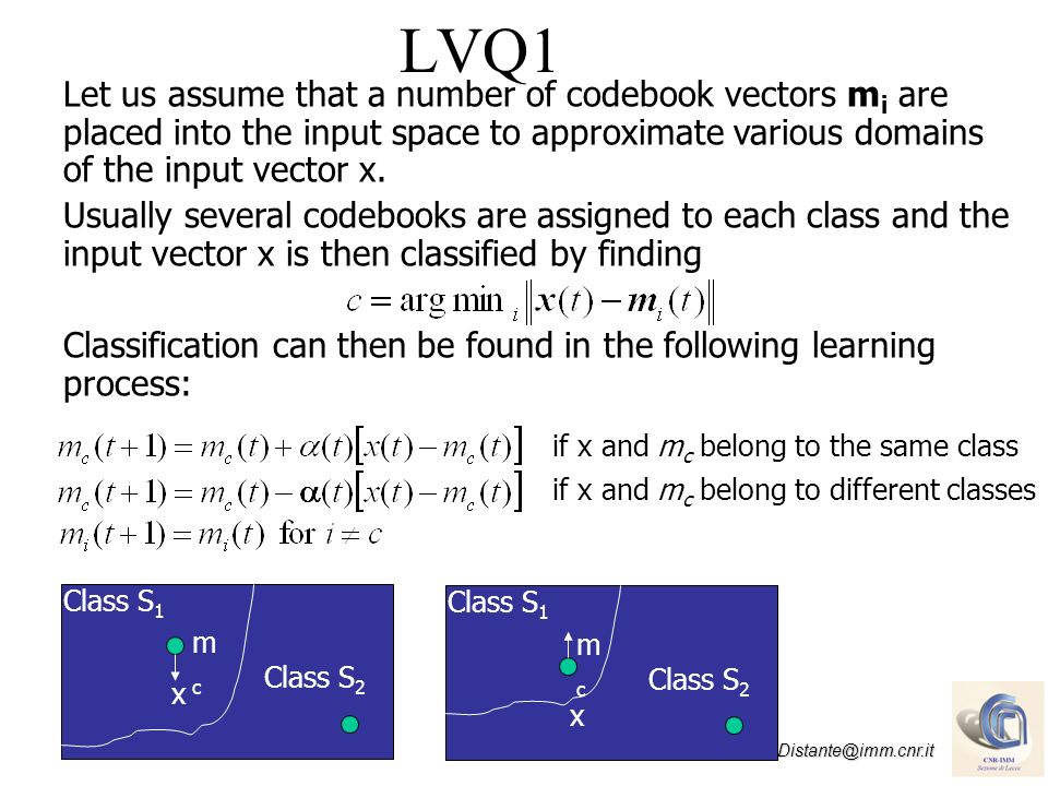 LVQ1 Let us assume that a number of codebook vectors mi are placed into the input space to approximate various domains of the input vector x.