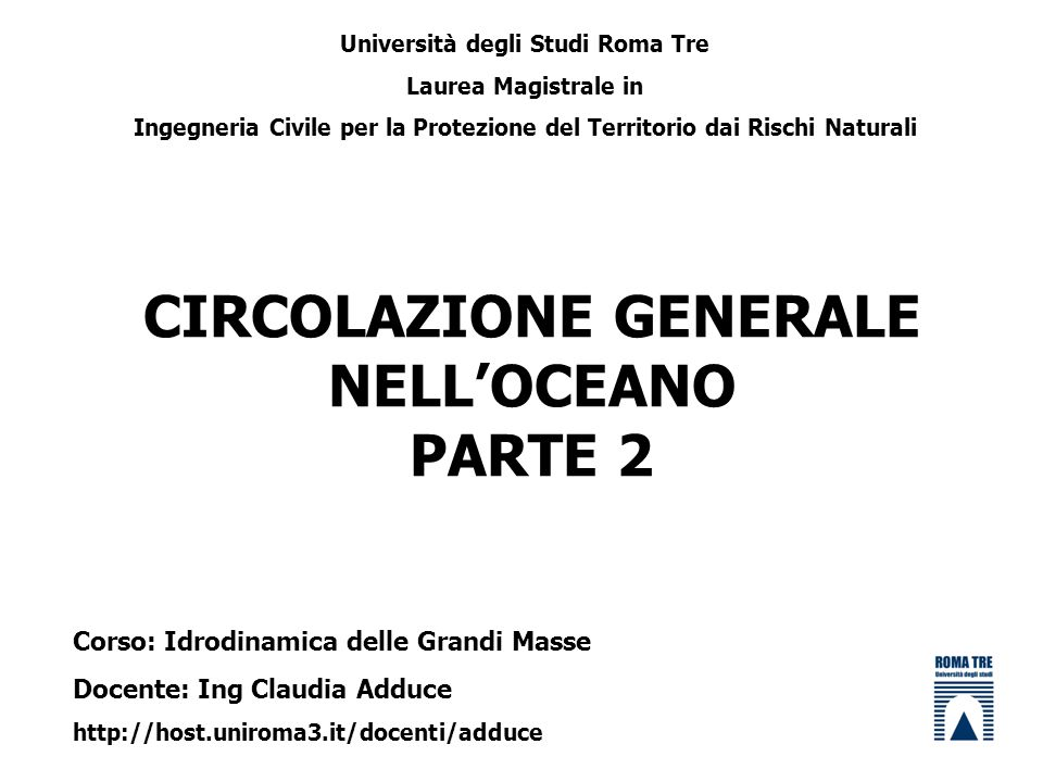CIRCOLAZIONE GENERALE NELL'OCEANO PARTE 2