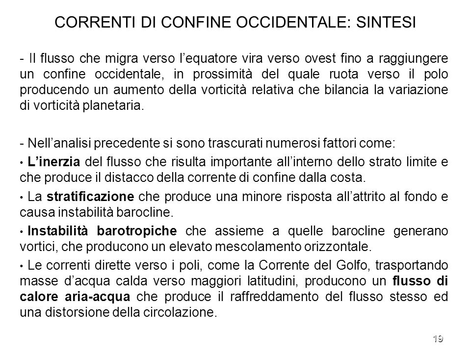 CORRENTI DI CONFINE OCCIDENTALE: SINTESI