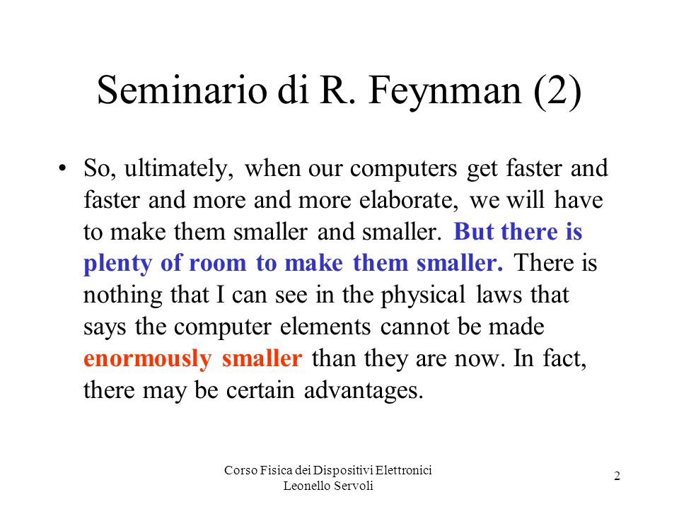 Seminario di R. Feynman (2)