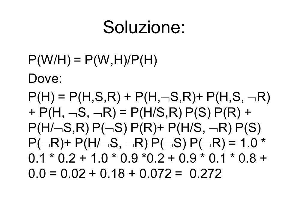 Soluzione: P(W/H) = P(W,H)/P(H) Dove: