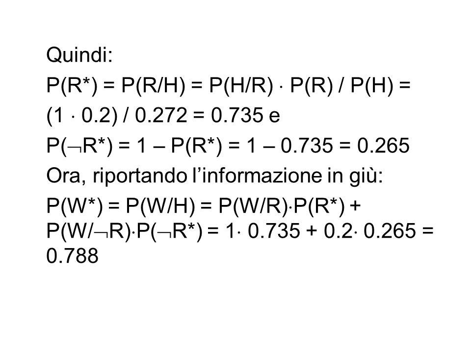 Quindi: P(R*) = P(R/H) = P(H/R)  P(R) / P(H) = (1  0.2) / 0.272 = 0.735 e. P(R*) = 1 – P(R*) = 1 – 0.735 = 0.265.