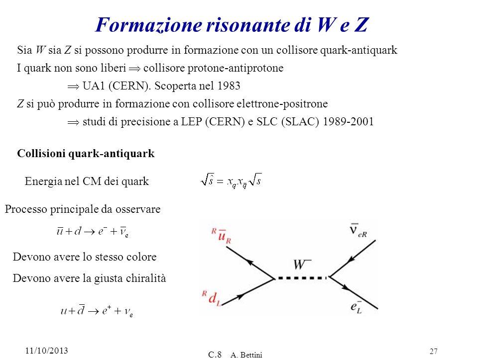 Formazione risonante di W e Z
