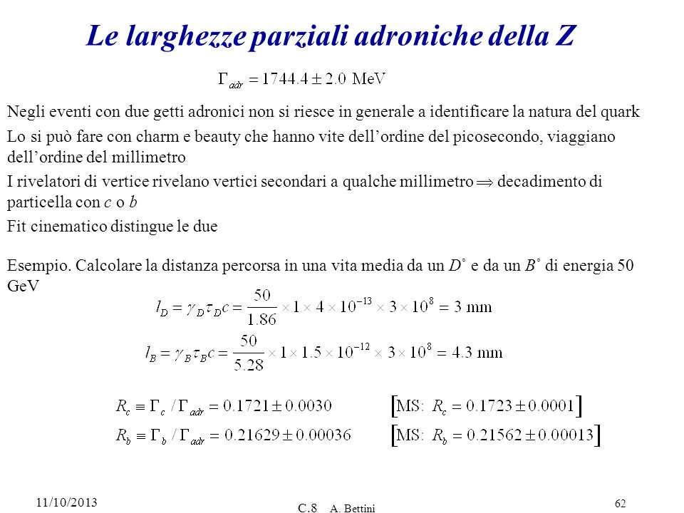 Le larghezze parziali adroniche della Z