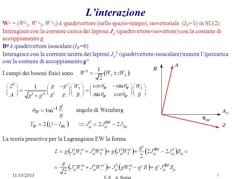 L'interazione Wµ = (Wµ1, W µ2, W µ3) è quadrivettore (nello spazio-tempo), isovettoriale (IW=1) in SU(2)