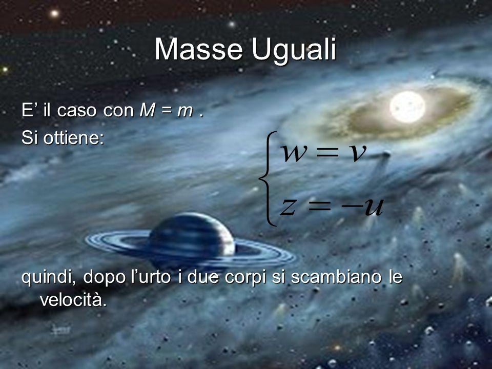Masse Uguali E' il caso con M = m . Si ottiene: