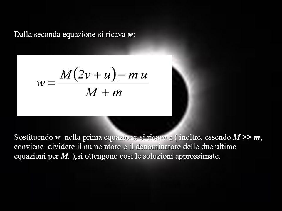 Dalla seconda equazione si ricava w: