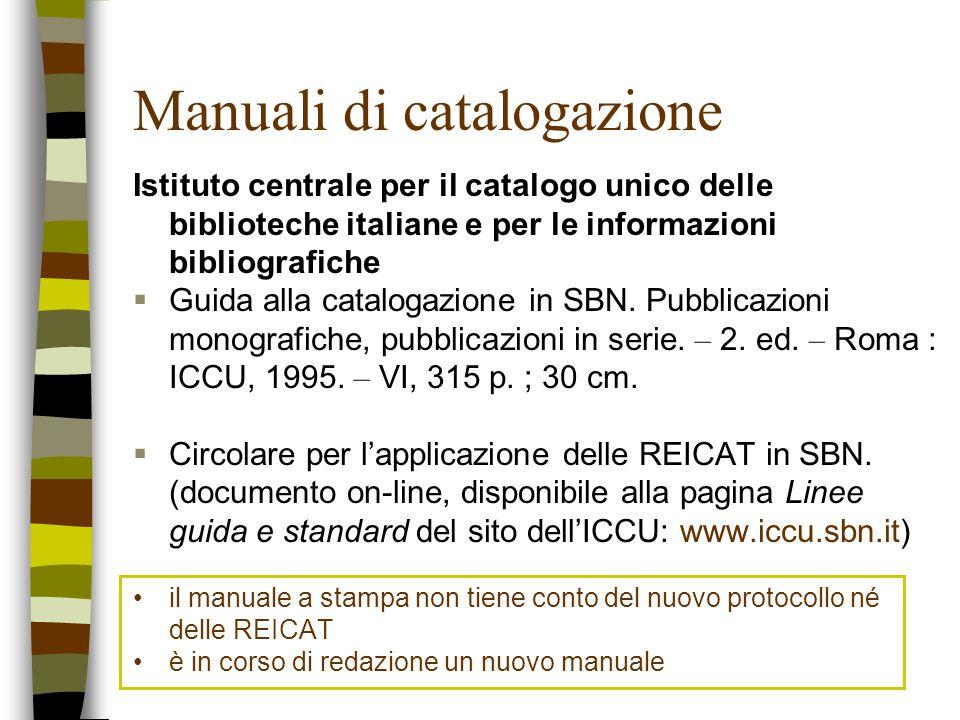 Manuali di catalogazione