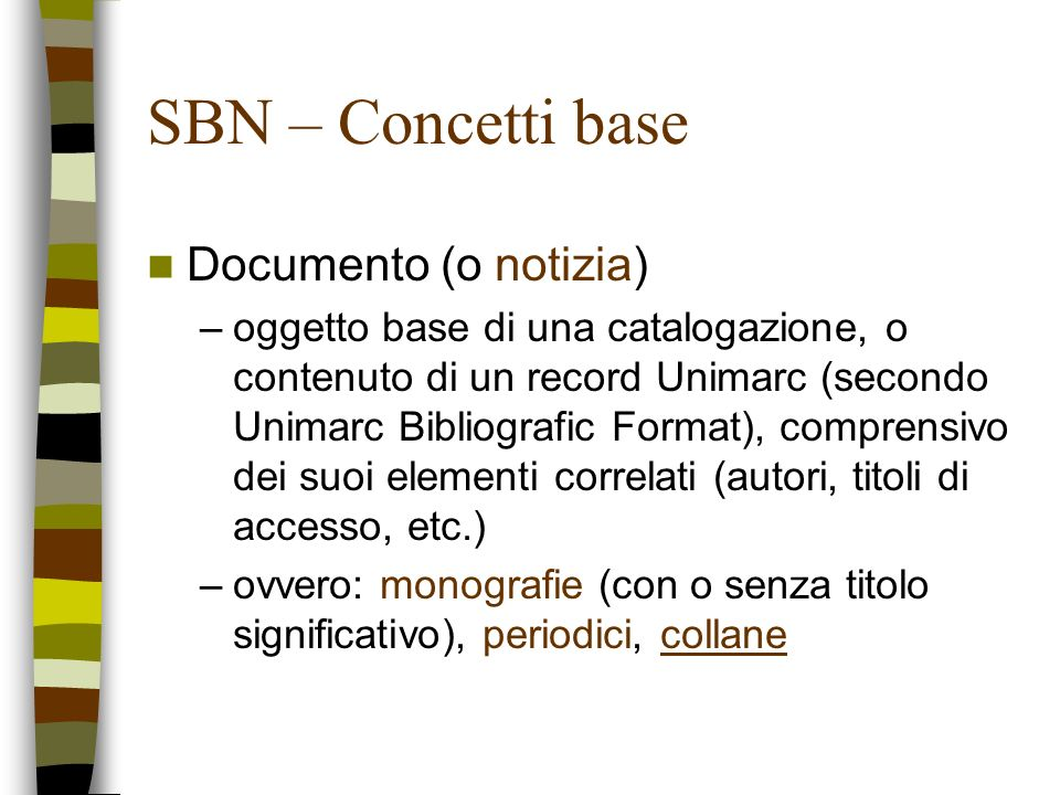 SBN – Concetti base Documento (o notizia)