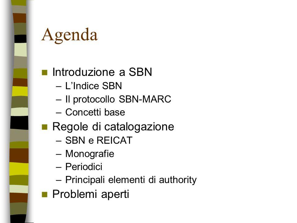 Agenda Introduzione a SBN Regole di catalogazione Problemi aperti