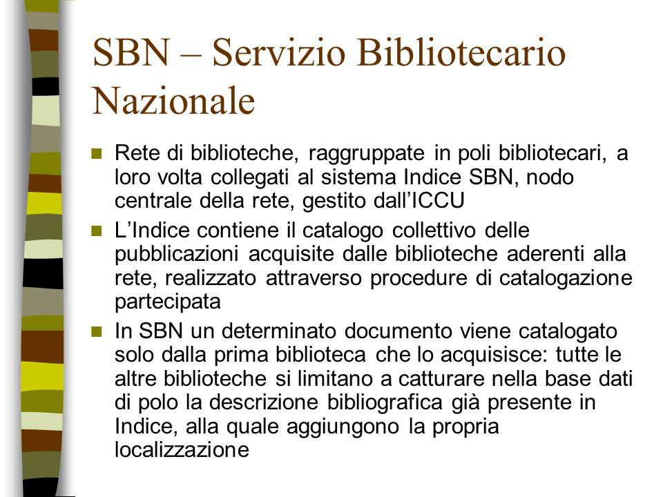 SBN – Servizio Bibliotecario Nazionale