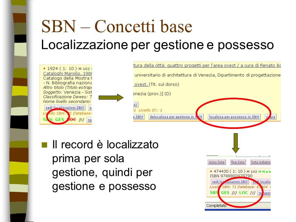 SBN – Concetti base Localizzazione per gestione e possesso