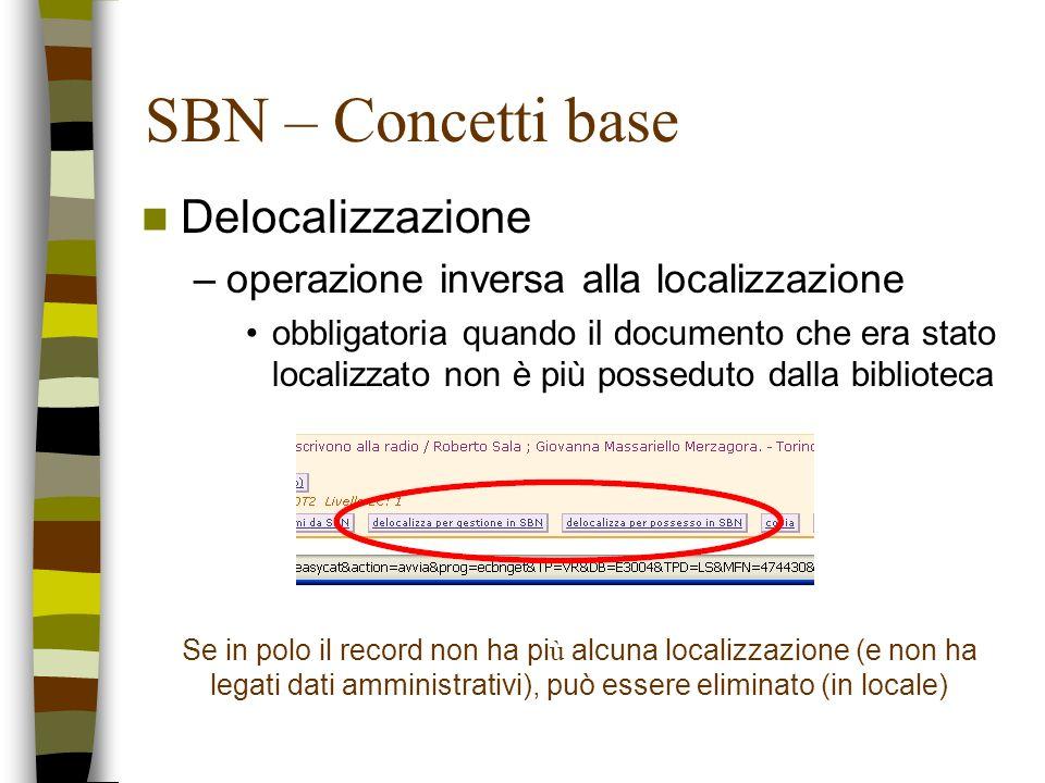 SBN – Concetti base Delocalizzazione