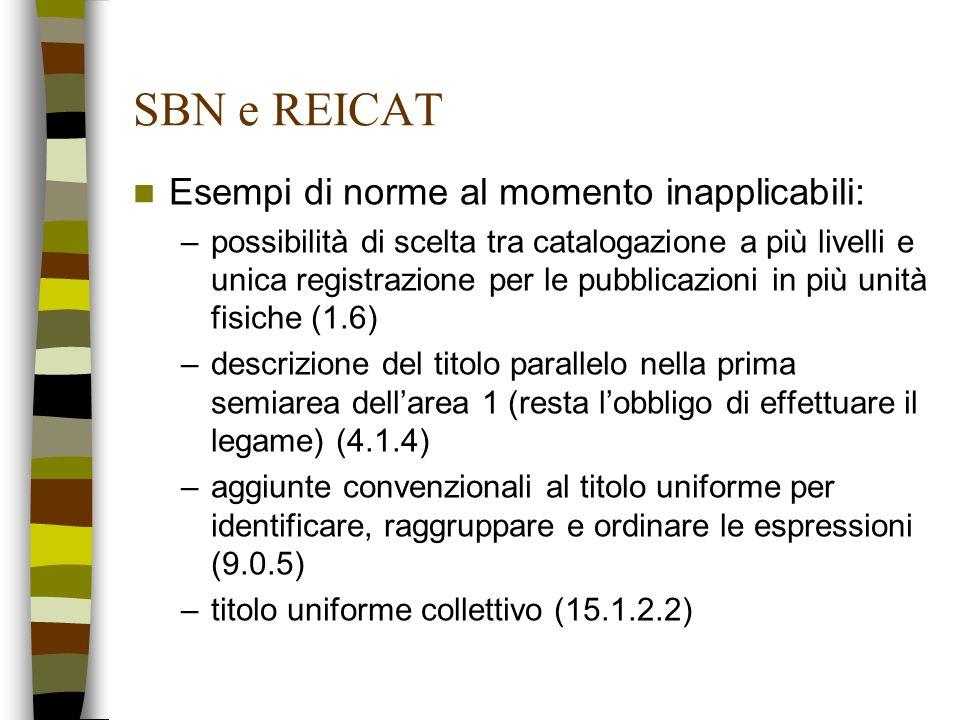 SBN e REICAT Esempi di norme al momento inapplicabili: