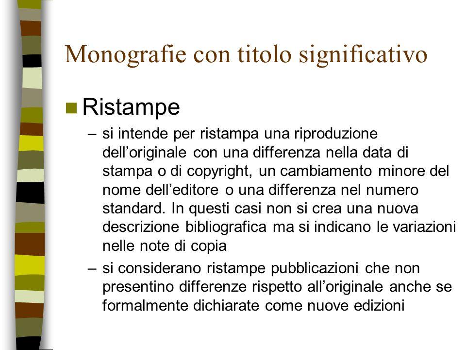 Monografie con titolo significativo