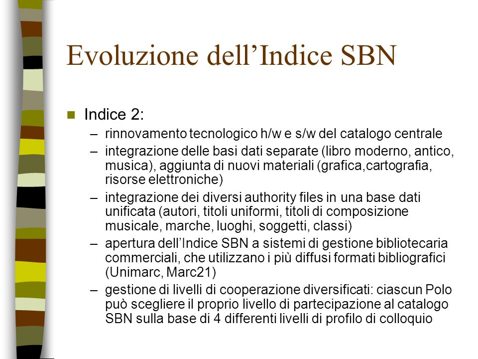 Evoluzione dell'Indice SBN