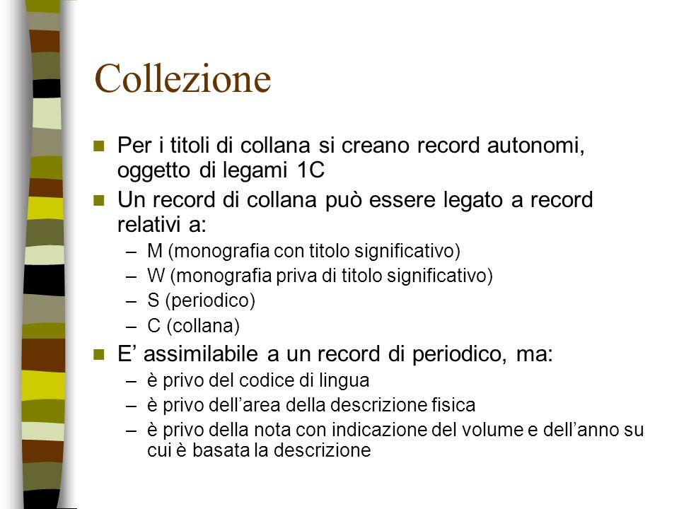 Collezione Per i titoli di collana si creano record autonomi, oggetto di legami 1C. Un record di collana può essere legato a record relativi a: