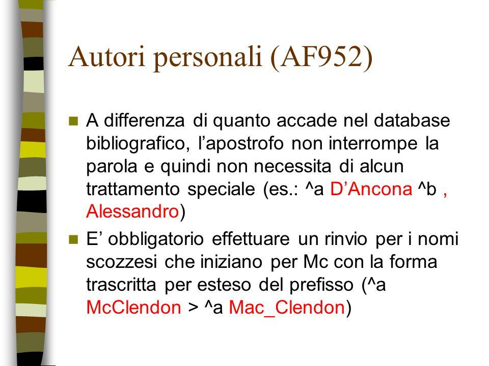 Autori personali (AF952)