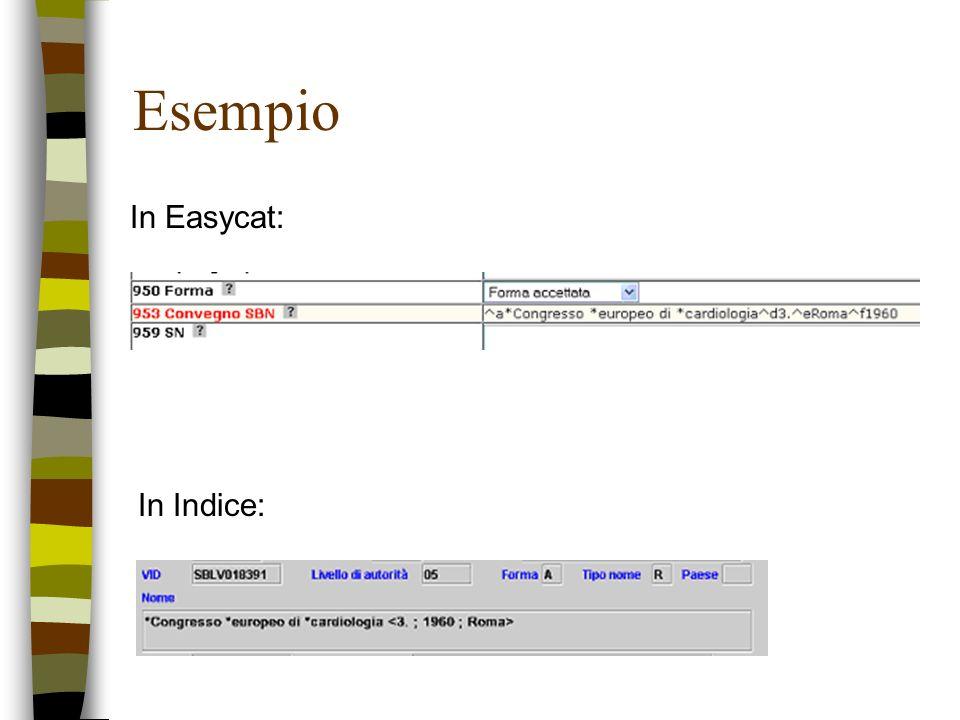 Esempio In Easycat: In Indice: