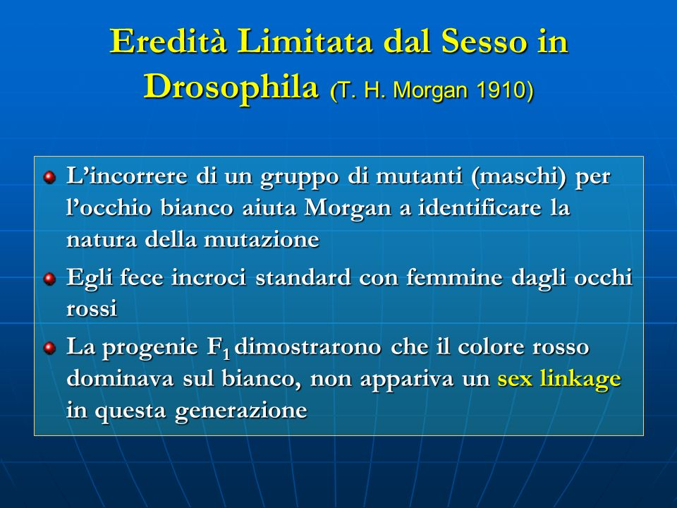 Eredità Limitata dal Sesso in Drosophila (T. H. Morgan 1910)