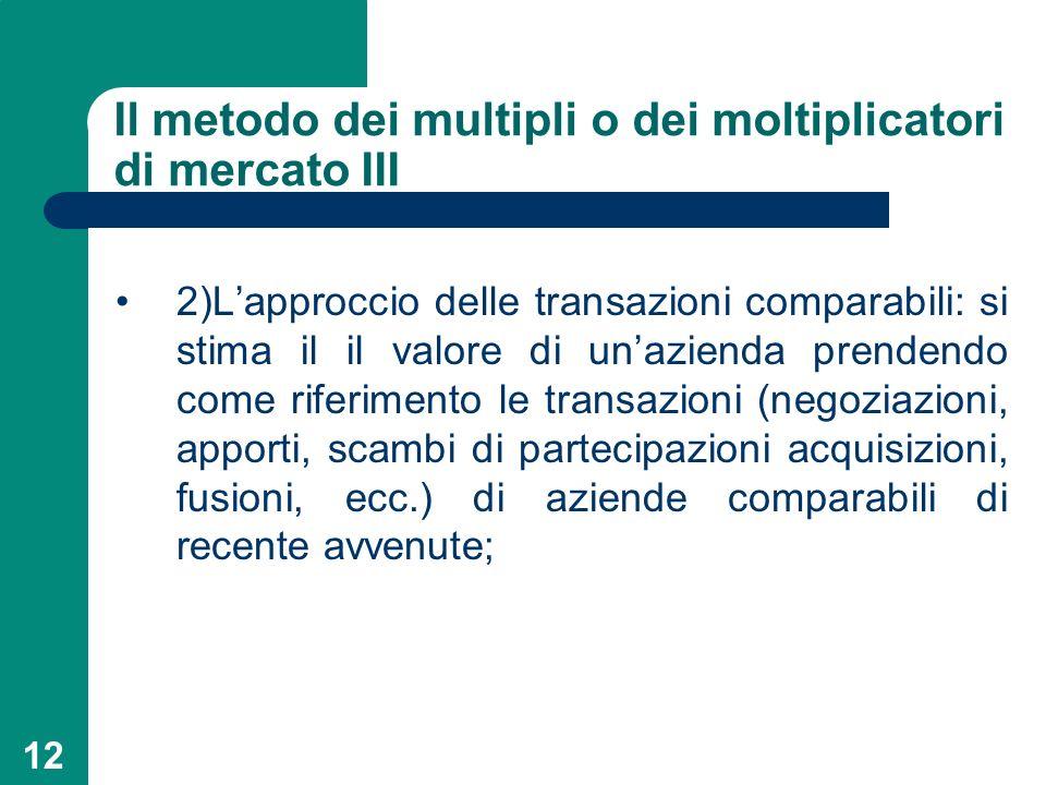 Il metodo dei multipli o dei moltiplicatori di mercato III