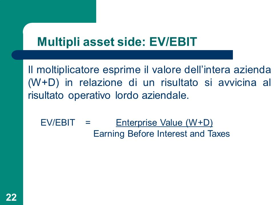 Multipli asset side: EV/EBIT