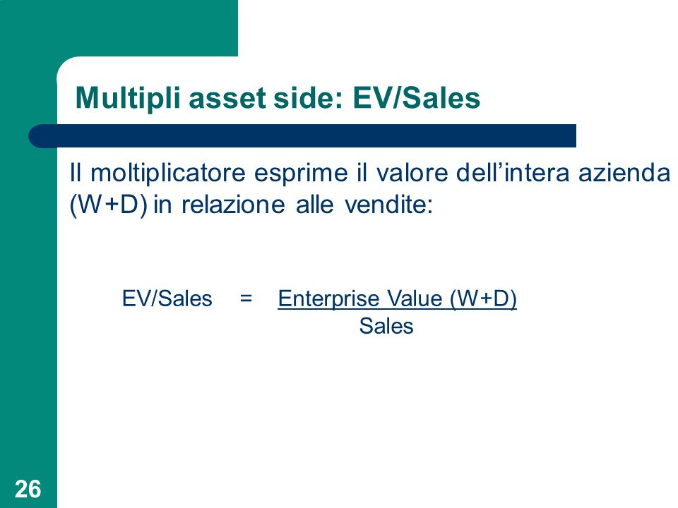 Multipli asset side: EV/Sales