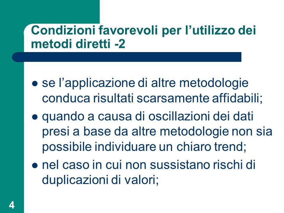 Condizioni favorevoli per l'utilizzo dei metodi diretti -2