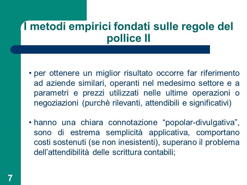 I metodi empirici fondati sulle regole del pollice II