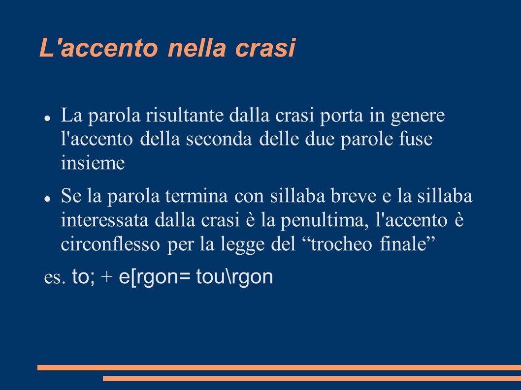 L accento nella crasi La parola risultante dalla crasi porta in genere l accento della seconda delle due parole fuse insieme.