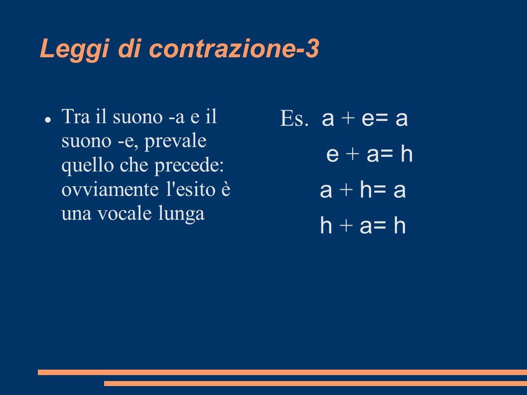 Leggi di contrazione-3 Es. a + e= a e + a= h a + h= a h + a= h