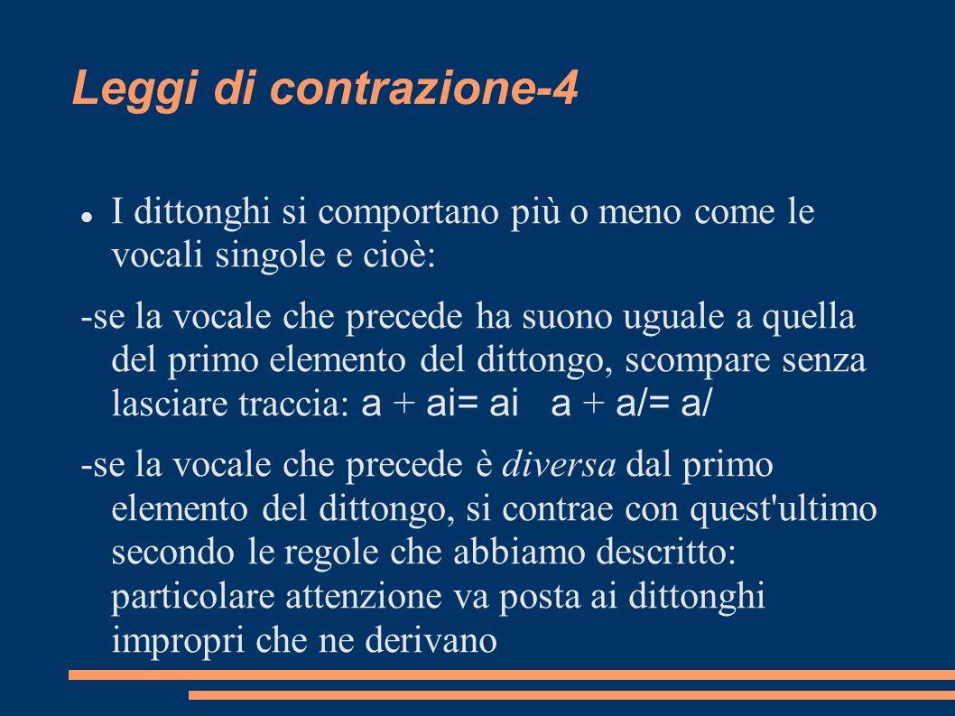 Leggi di contrazione-4 I dittonghi si comportano più o meno come le vocali singole e cioè: