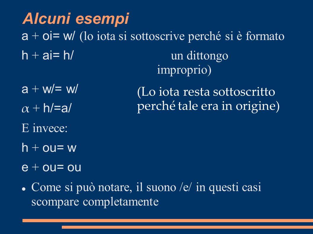 Alcuni esempi a + oi= w/ (lo iota si sottoscrive perché si è formato