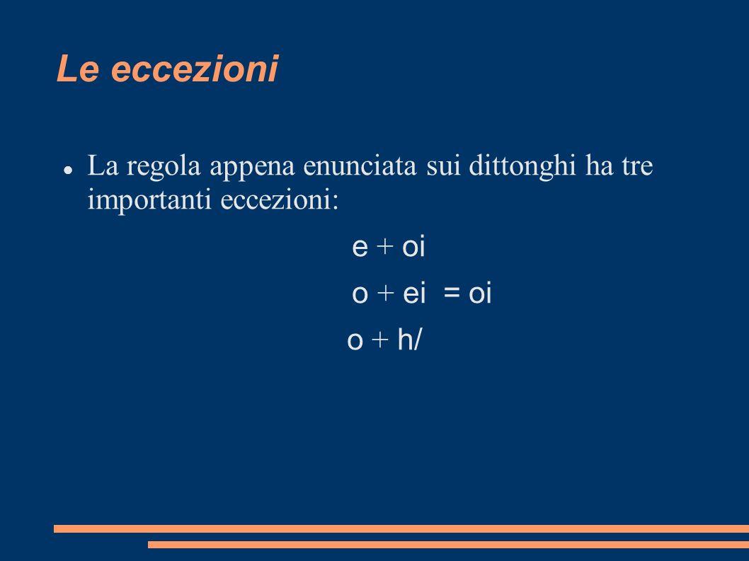 Le eccezioni La regola appena enunciata sui dittonghi ha tre importanti eccezioni: e + oi. o + ei = oi.