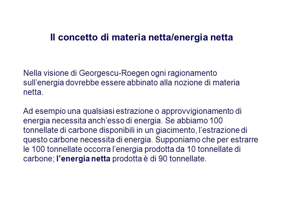 Il concetto di materia netta/energia netta