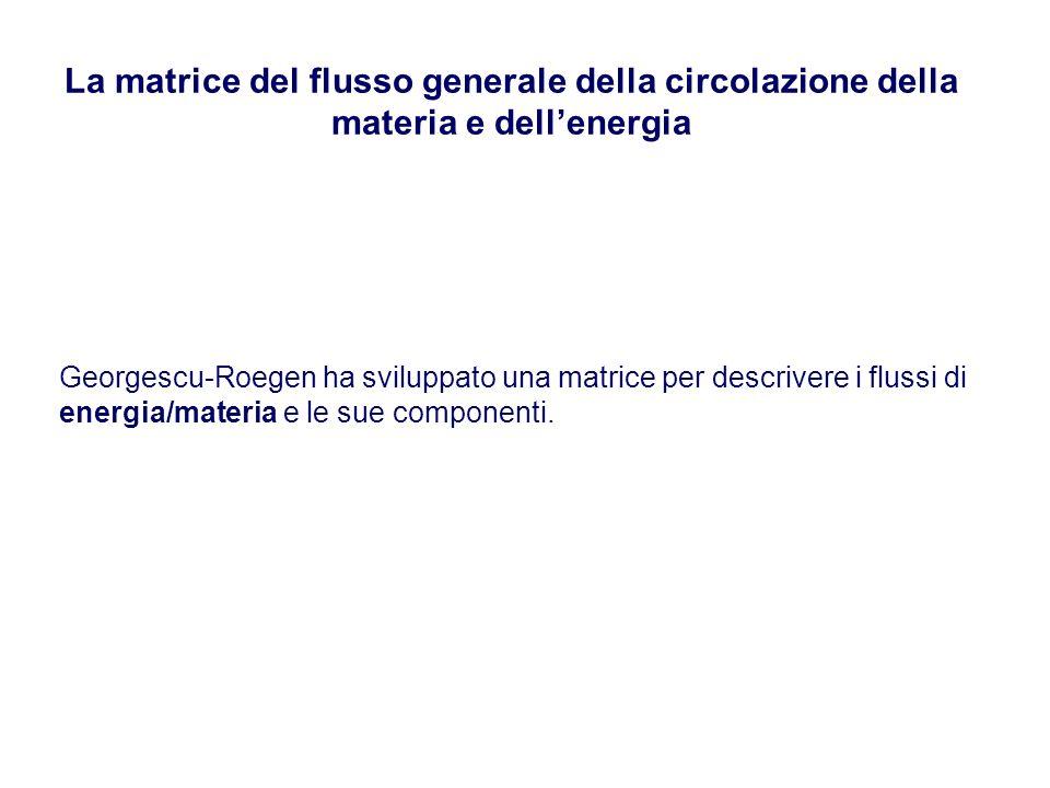 La matrice del flusso generale della circolazione della materia e dell'energia