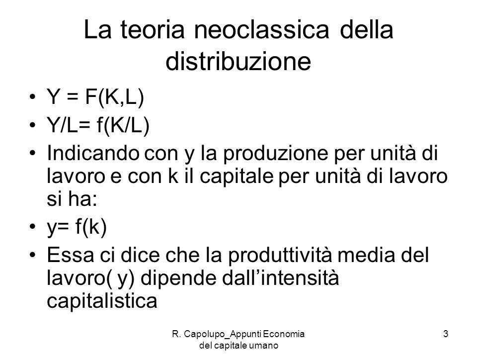 La teoria neoclassica della distribuzione