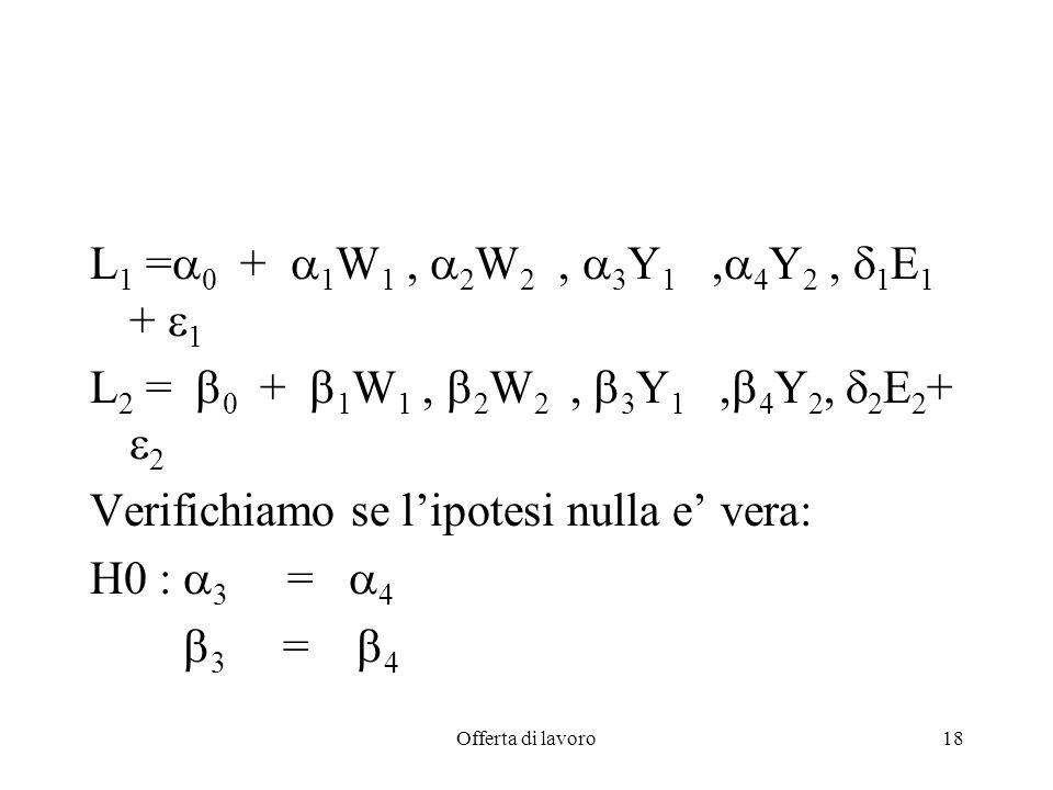 Verifichiamo se l'ipotesi nulla e' vera: H0 : 3 = 4 3 = 4