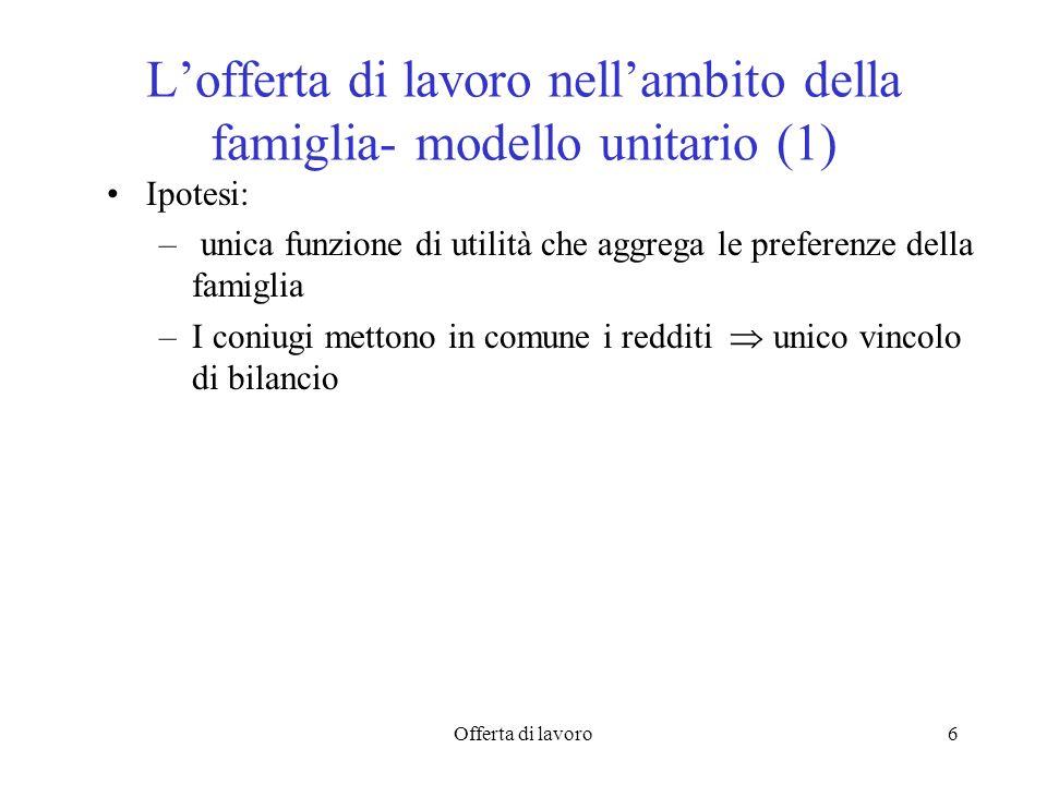L'offerta di lavoro nell'ambito della famiglia- modello unitario (1)