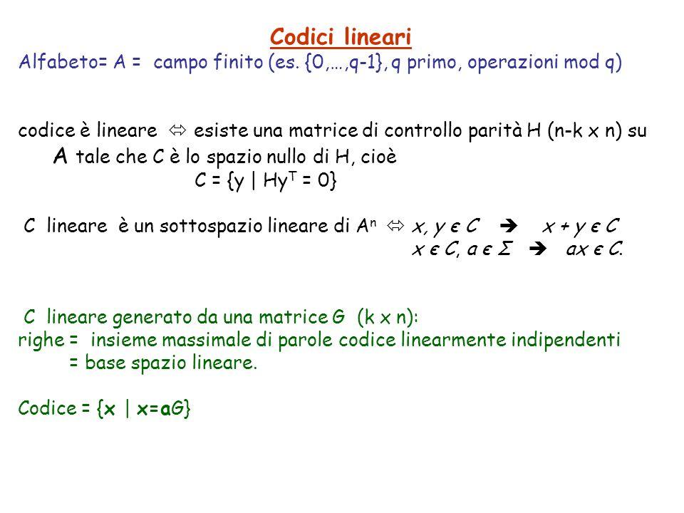 Codici lineari Alfabeto= A = campo finito (es. {0,…,q-1}, q primo, operazioni mod q)