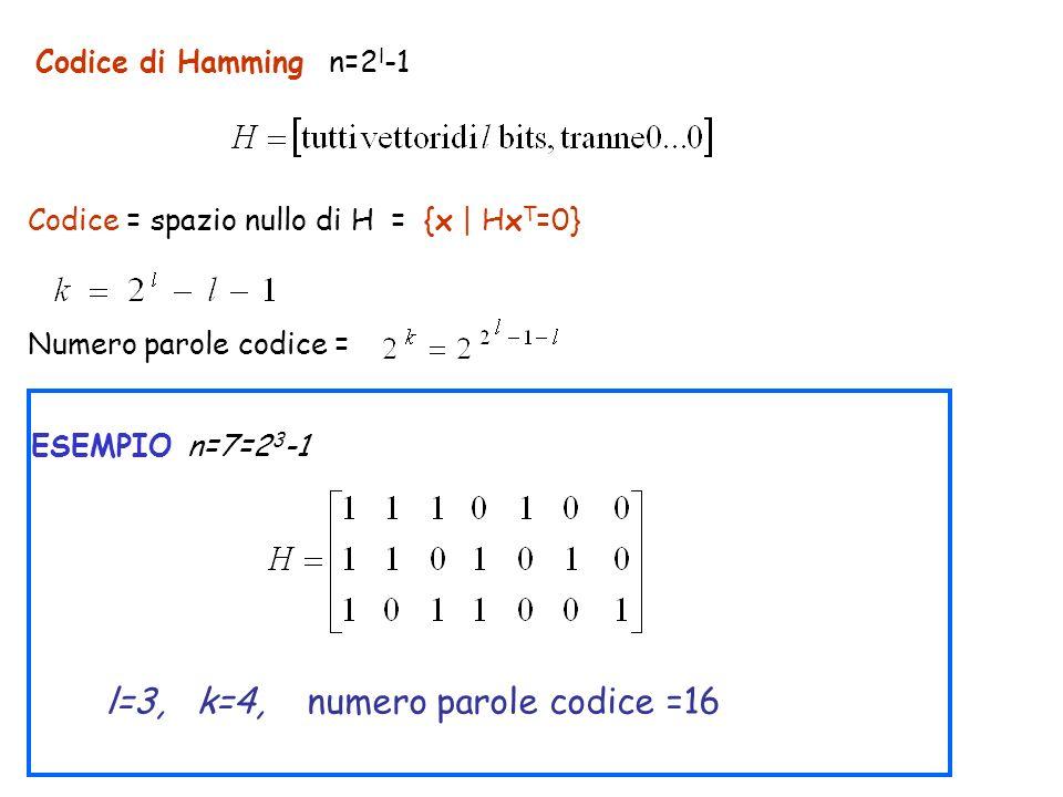 l=3, k=4, numero parole codice =16