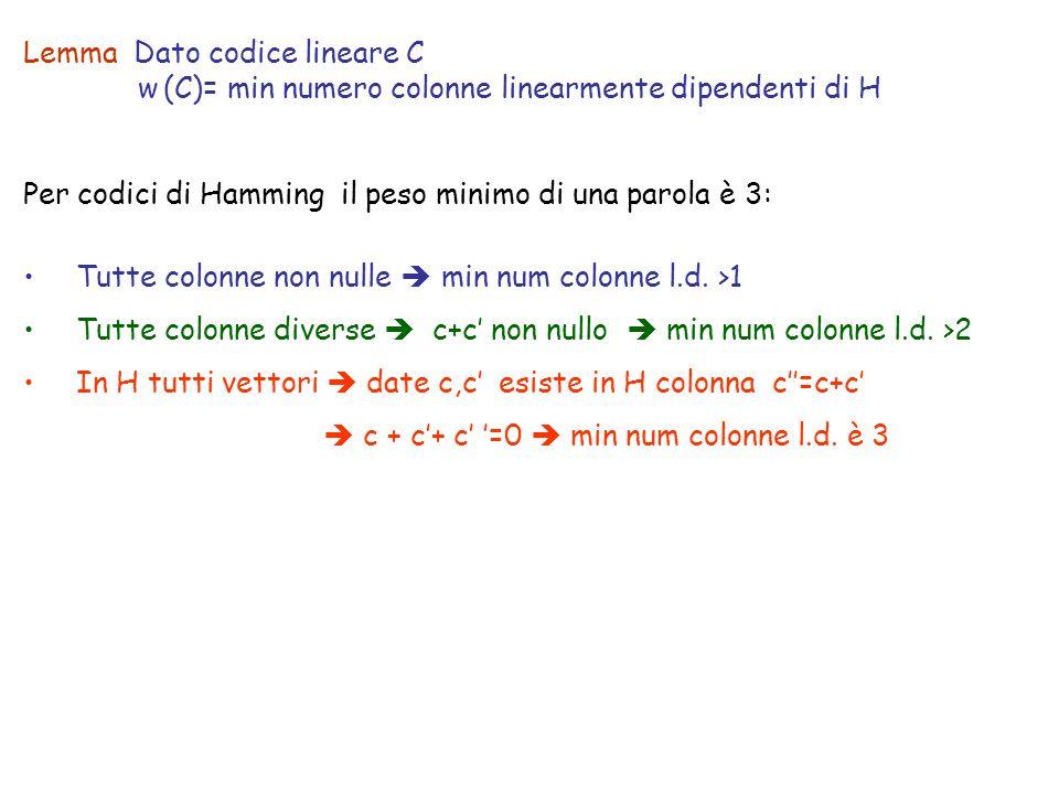 Lemma Dato codice lineare C